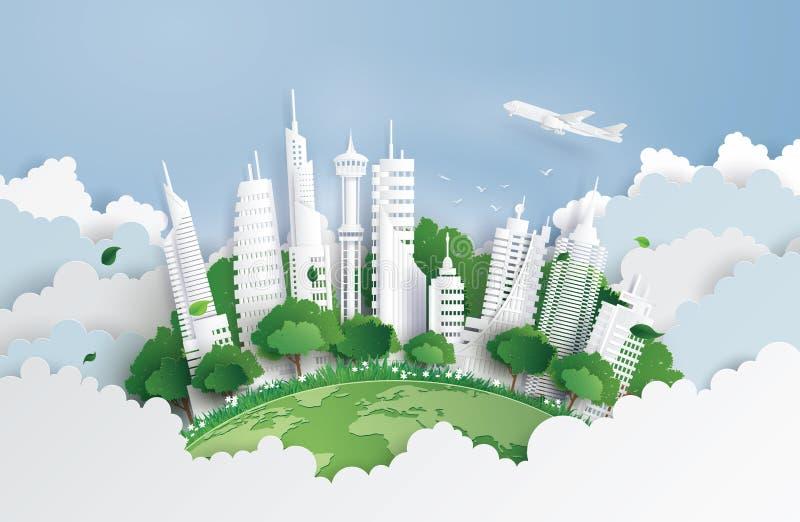 Πράσινη πόλη με την οικοδόμηση απεικόνιση αποθεμάτων