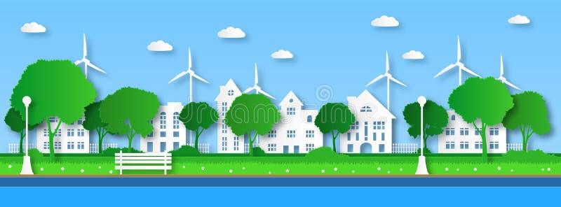 Πράσινη πόλη Πράσινα δέντρα σε δημόσιο αστικό πάρκο με κτίρια και καθαρή κυανή παράκτια κατασκευή ποταμών Οικολογία και περιβάλλο απεικόνιση αποθεμάτων