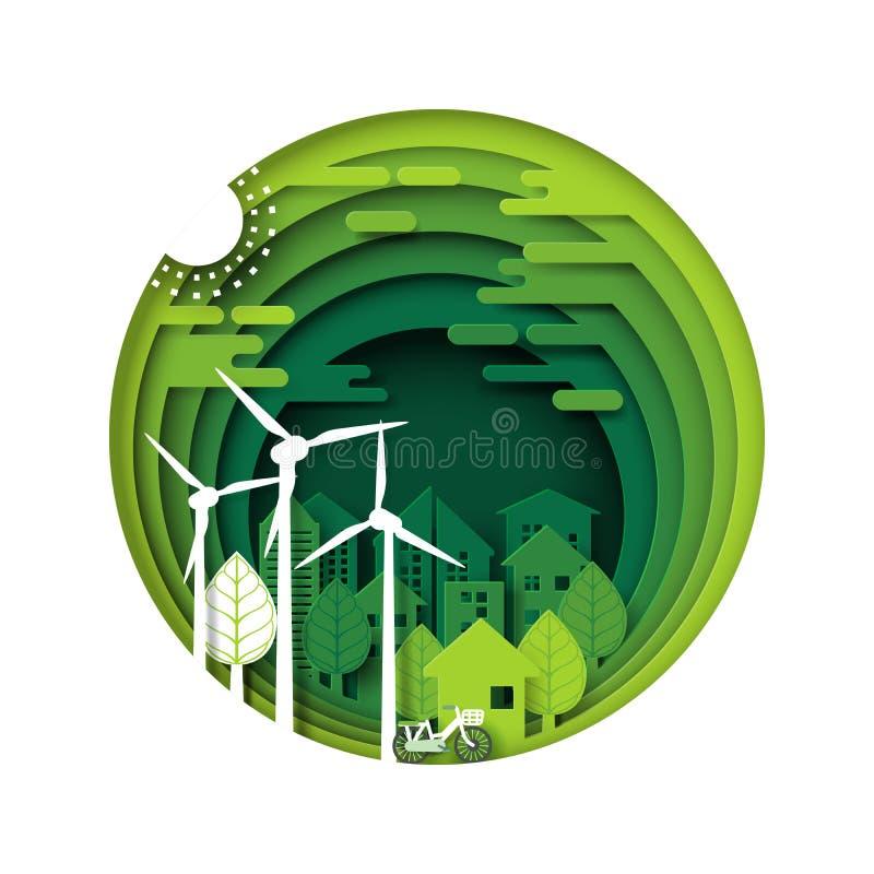 Πράσινη πόλη eco και αστικό δασικό στρώμα περικοπών εγγράφου διανυσματική απεικόνιση