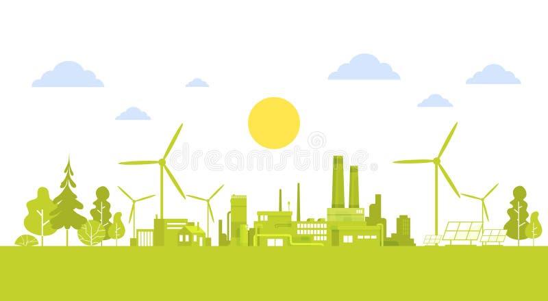 Πράσινη πόλη σκιαγραφιών με την καθαρή έννοια περιβάλλοντος οικολογίας φύσης ανεμοστροβίλων ελεύθερη απεικόνιση δικαιώματος