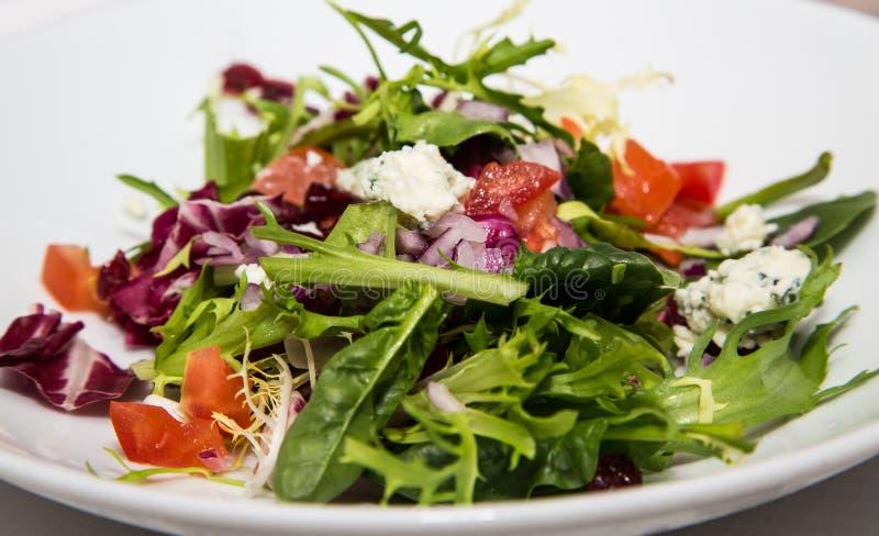 Πράσινη σαλάτα τομέων με Gorgonzola τη σάλτσα στοκ εικόνα