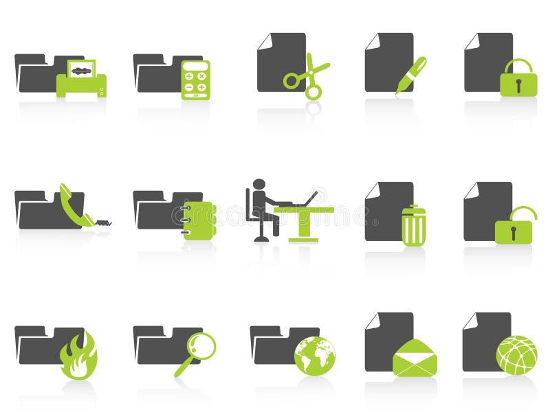πράσινη σειρά εικονιδίων γραμματοθηκών εγγράφων απεικόνιση αποθεμάτων