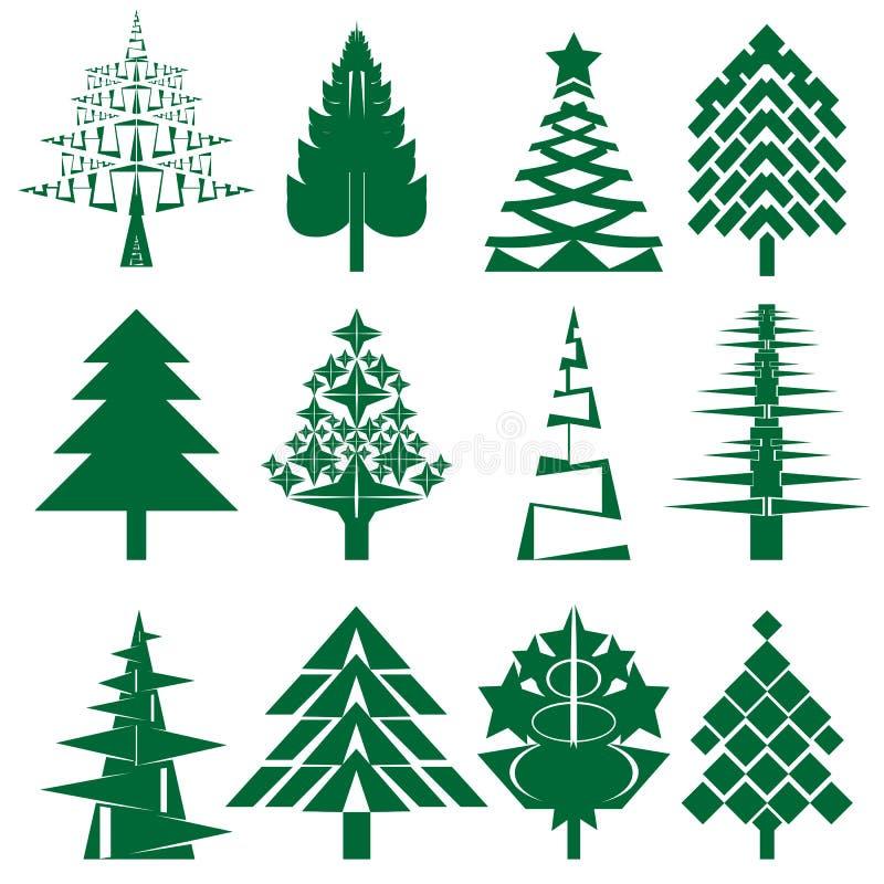 Πράσινη σειρά χριστουγεννιάτικων δέντρων διανυσματική απεικόνιση