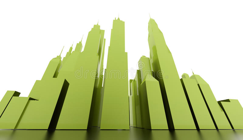 Πράσινη σκηνή πόλεων που δίνεται απεικόνιση αποθεμάτων