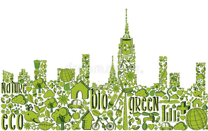 Πράσινη σκιαγραφία πόλεων με τα περιβαλλοντικά εικονίδια διανυσματική απεικόνιση