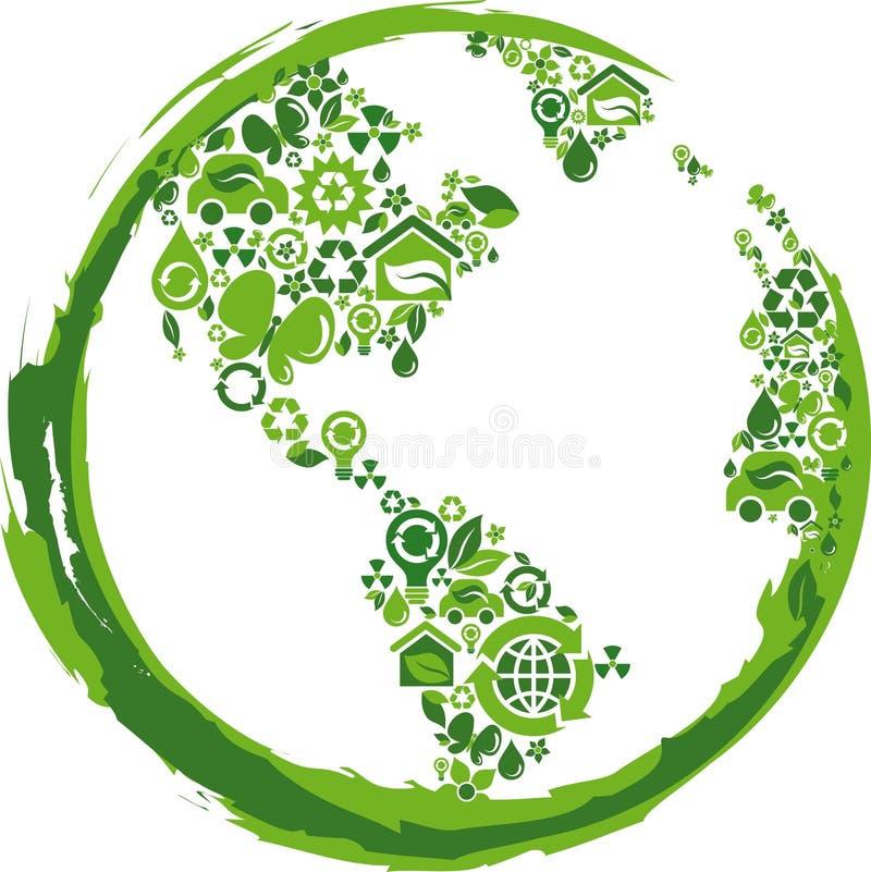 Πράσινη σφαίρα με πολλά περιβαλλοντικά εικονίδια ελεύθερη απεικόνιση δικαιώματος