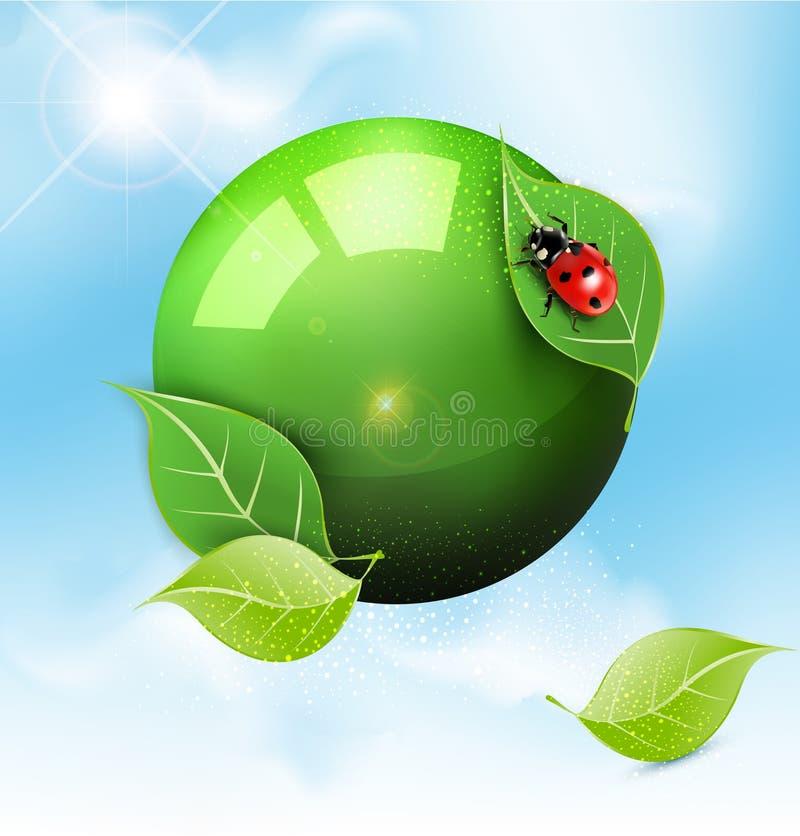 Πράσινη σφαίρα με τα φύλλα και ladybug ελεύθερη απεικόνιση δικαιώματος