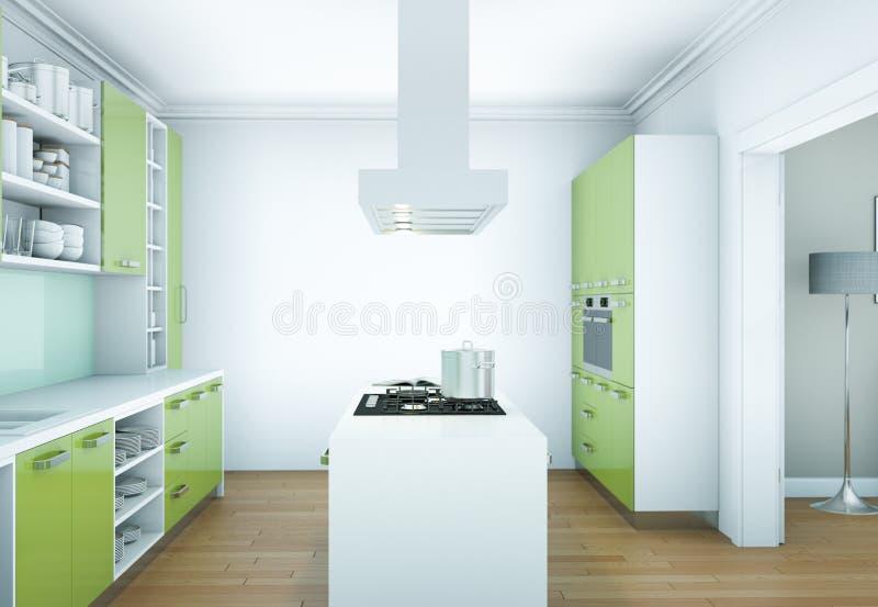 Πράσινη σύγχρονη απεικόνιση σχεδίου κουζινών εσωτερική στοκ εικόνες