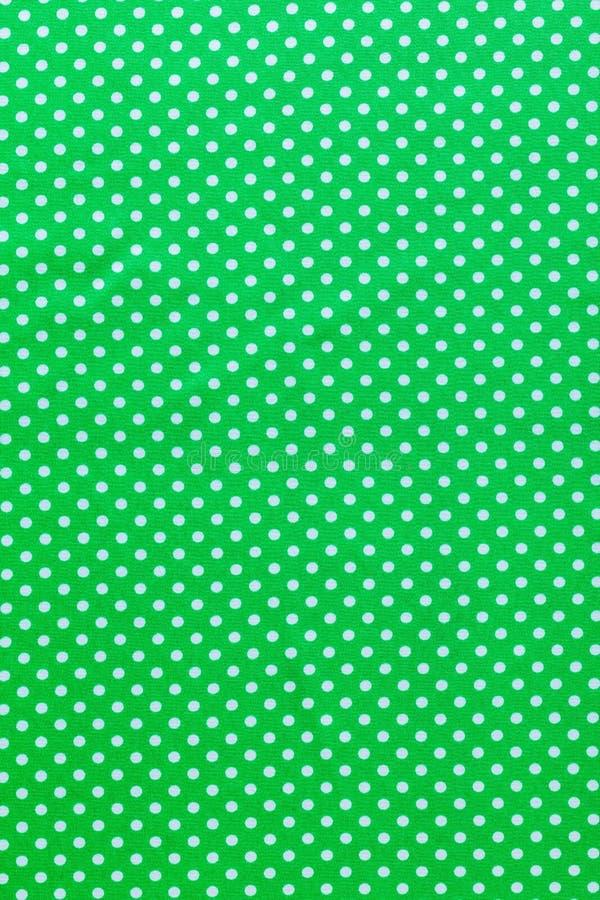 Πράσινη τοπ άποψη τυπωμένων υλών βαμβακιού Πόλκα-σημείων στοκ φωτογραφία με δικαίωμα ελεύθερης χρήσης
