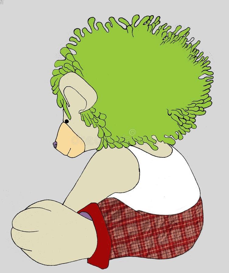 Πράσινη τρίχα Teddybear στοκ φωτογραφία με δικαίωμα ελεύθερης χρήσης