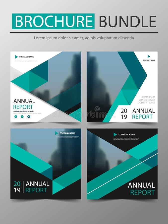 Πράσινη τριγώνων κάλυψη δεσμών φυλλάδιων έννοιας τετραγωνική, πρότυπο κάλυψης βιβλίων ετήσια εκθέσεων, επιχειρησιακή πρόταση για  απεικόνιση αποθεμάτων