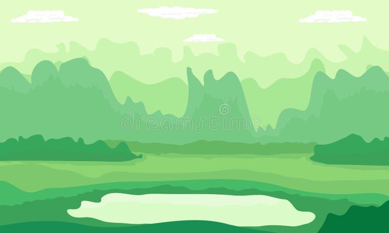 Πράσινη φύση λόφων βουνών στο θερινό σχέδιο στο διανυσματικό υπόβαθρο απεικόνισης ελεύθερη απεικόνιση δικαιώματος
