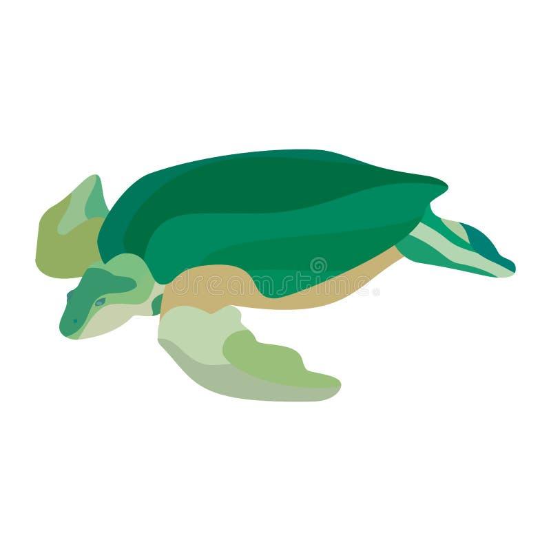 Πράσινη χελώνα κινούμενων σχεδίων που απομονώνεται στο άσπρο υπόβαθρο r απεικόνιση αποθεμάτων