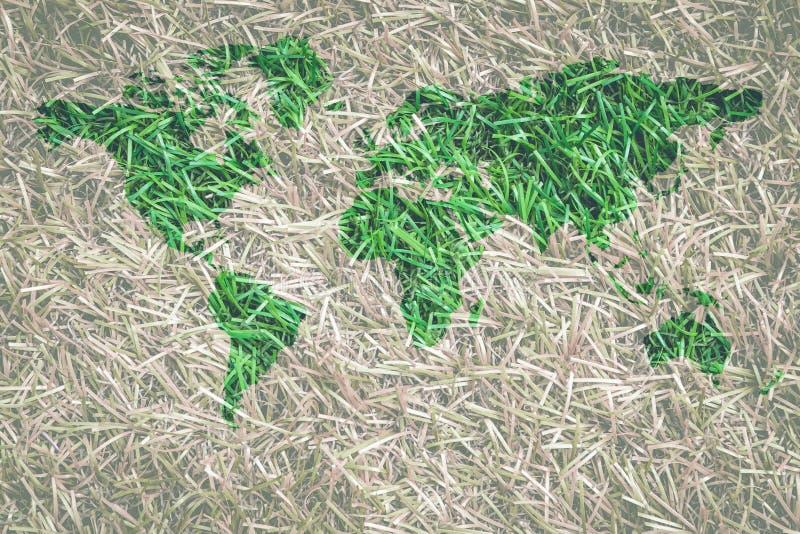 Πράσινη χλόη με τη μορφή παγκόσμιων χαρτών που περιβάλλεται με την ξηρά χλόη στοκ εικόνες