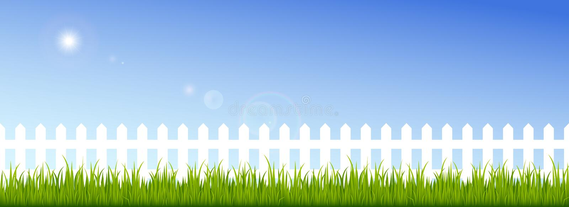 Πράσινη χλόη και άσπρος φράκτης σε έναν σαφή μπλε ουρανό διανυσματική απεικόνιση