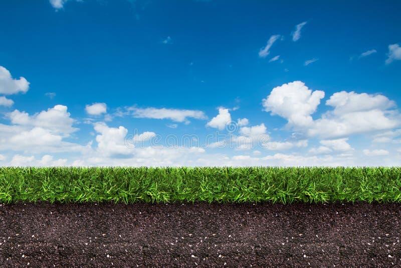 Πράσινη χλόη με το χώμα στο μπλε ουρανό απεικόνιση αποθεμάτων