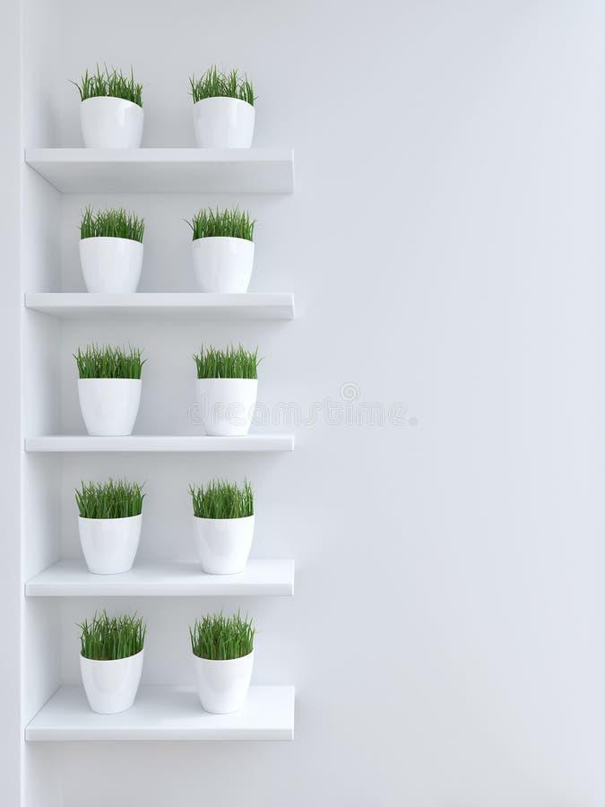 Πράσινη χλόη flowerpot ελεύθερη απεικόνιση δικαιώματος