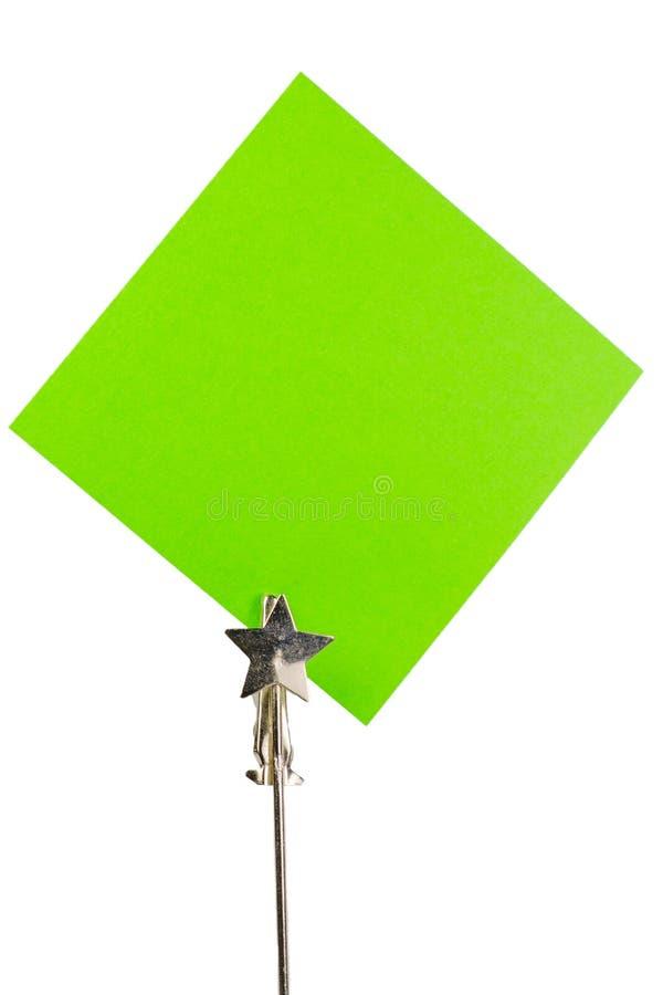 Πράσινη post-it σημείωση για το άσπρο υπόβαθρο στοκ φωτογραφία με δικαίωμα ελεύθερης χρήσης