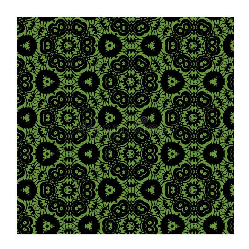 Πράσινοι άνευ ραφής διανυσματικός πράσινος μπατίκ και μαύρος για την υφαντική τυπωμένη ύλη μόδας στοκ εικόνες με δικαίωμα ελεύθερης χρήσης