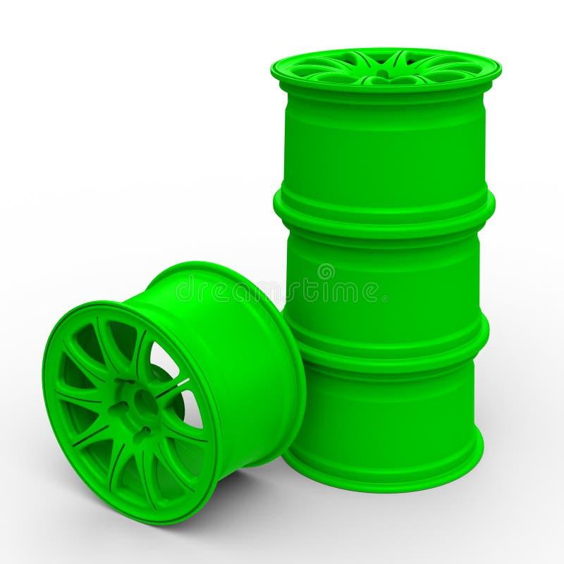 Πράσινοι δίσκοι χάλυβα για μια τρισδιάστατη απεικόνιση αυτοκινήτων απεικόνιση αποθεμάτων