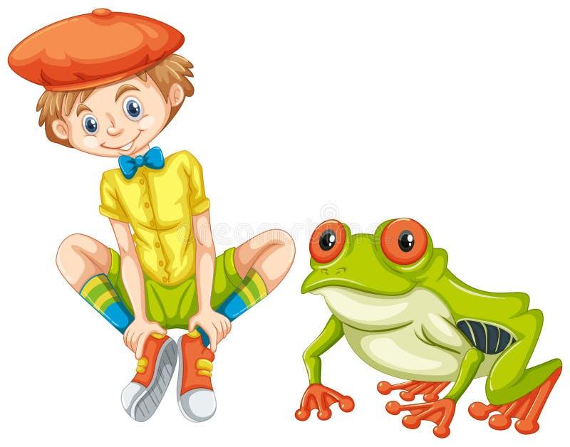 Πράσινοι βάτραχος και μικρό παιδί διανυσματική απεικόνιση