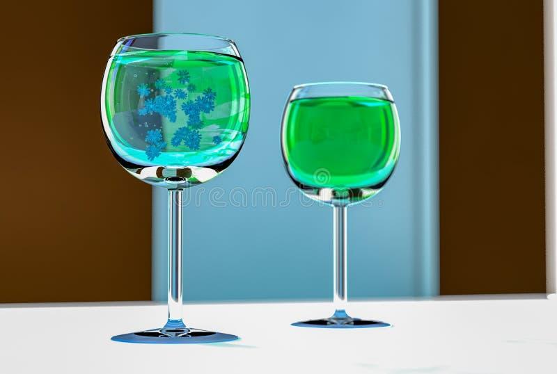 Πράσινοι ιοί σε ένα γυαλί κρασιού ελεύθερη απεικόνιση δικαιώματος