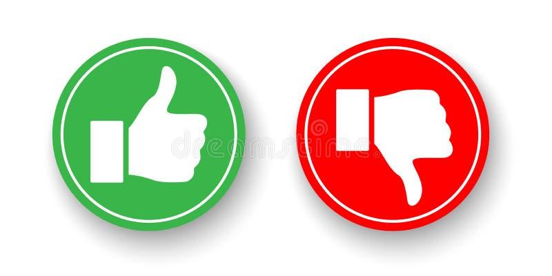 Πράσινοι και κόκκινοι κύκλοι με τους αντίχειρες επάνω και τους αντίχειρες κάτω από τα εικονίδια που απομονώνονται στο άσπρο υπόβα διανυσματική απεικόνιση