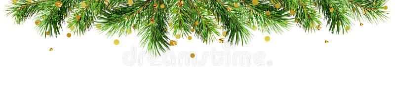 Πράσινοι κλαδίσκοι πεύκων και χρυσό κομφετί για τα τοπ σύνορα Χριστουγέννων στοκ εικόνα