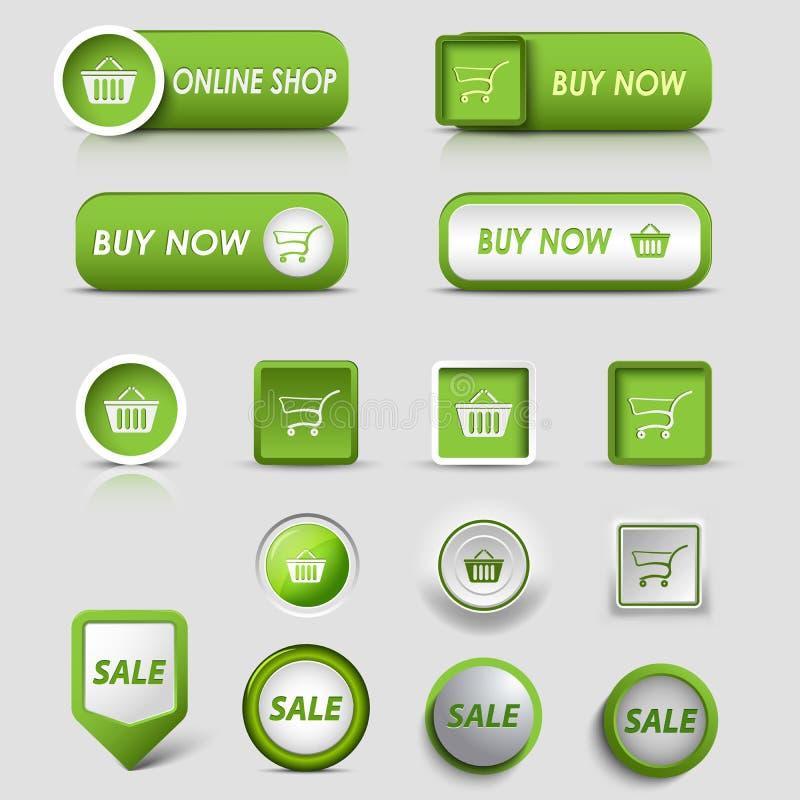 Πράσινοι κουμπιά και δείκτες Ιστού συλλογής για τις αγορές διανυσματική απεικόνιση