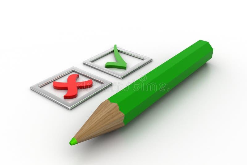 Πράσινοι κρότωνες καταλόγων ελέγχου στα τετραγωνίδια και το μολύβι ελεύθερη απεικόνιση δικαιώματος