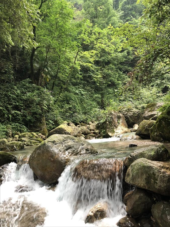 Πράσινοι λόφοι και πράσινα βουνό νερού και τοπίο νερού στοκ εικόνα με δικαίωμα ελεύθερης χρήσης