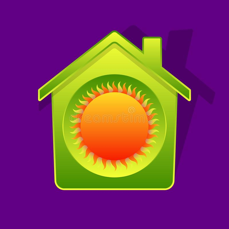 Πράσινοι σπίτι και ήλιος διανυσματική απεικόνιση