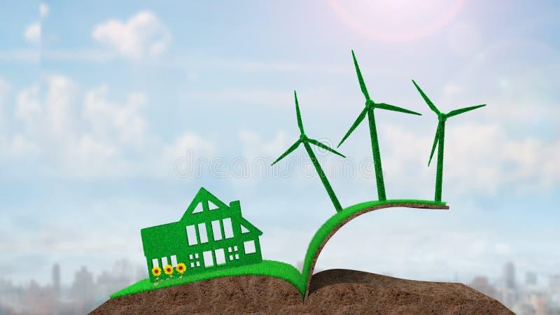 Πράσινοι στρόβιλοι σπιτιών στο εδαφολογικό κατασκευασμένο βιβλίο χλόης απεικόνιση αποθεμάτων