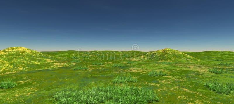 Πράσινοι τομείς με δύο λόφους πρωινός ελεύθερη απεικόνιση δικαιώματος