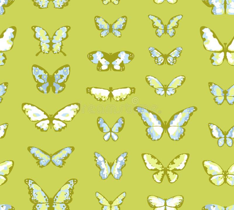 πράσινος άνευ ραφής πεταλούδων ανασκόπησης διανυσματική απεικόνιση