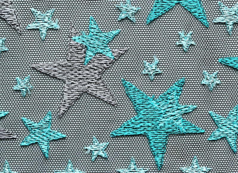 Πράσινος αστεριών μακρο πυροβολισμός σύστασης δαντελλών υλικός στοκ φωτογραφία με δικαίωμα ελεύθερης χρήσης