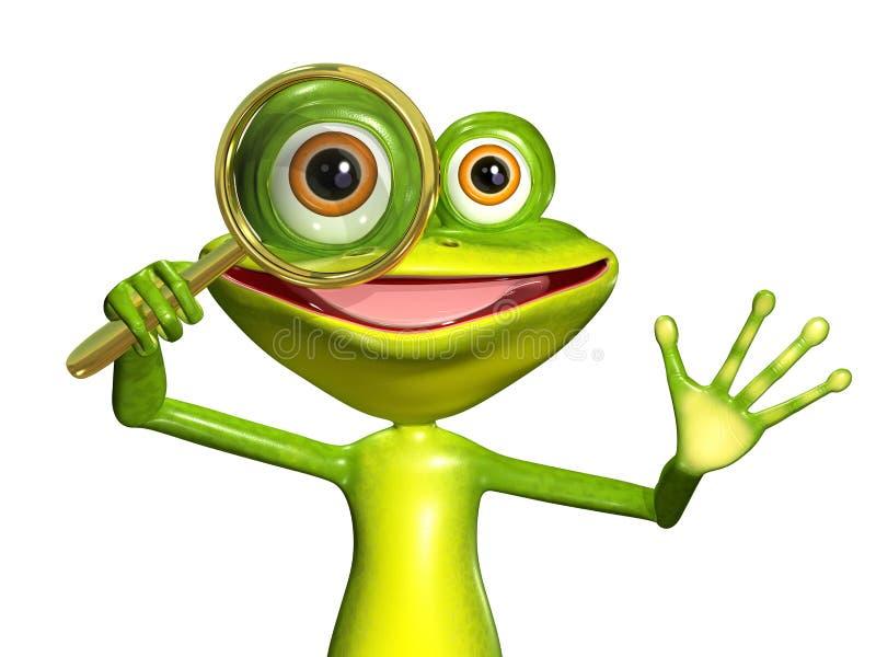 Πράσινος βάτραχος με την ενίσχυση ελεύθερη απεικόνιση δικαιώματος