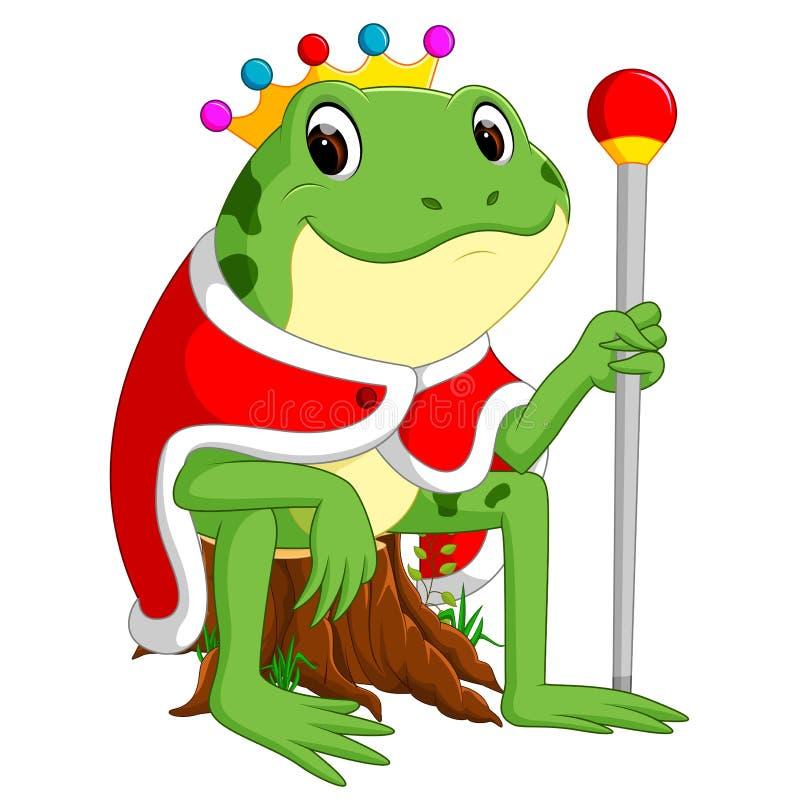 Πράσινος βάτραχος με τη χρησιμοποίηση της κορώνας διανυσματική απεικόνιση