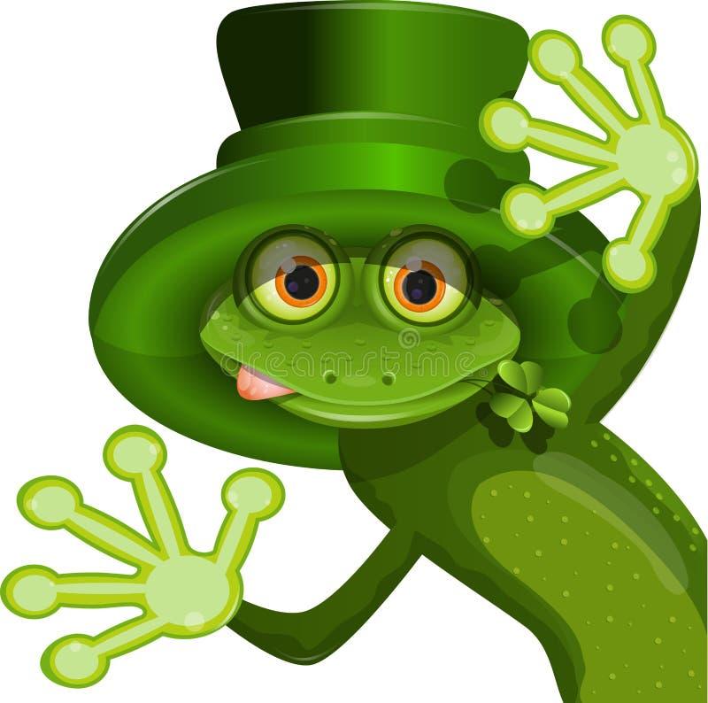 Πράσινος βάτραχος που φορά ένα καπέλο Αγίου Πάτρικ ελεύθερη απεικόνιση δικαιώματος