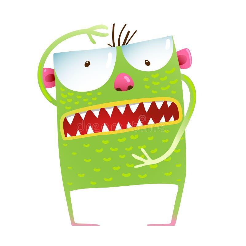 Πράσινος βάτραχος τεράτων που παρουσιάζει κινούμενα σχέδια παιδιών μεγέθους ελεύθερη απεικόνιση δικαιώματος