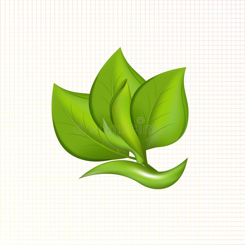 Πράσινος βγάζει φύλλα τη διανυσματική εικόνα λογότυπων εικονιδίων φυτών απεικόνιση αποθεμάτων