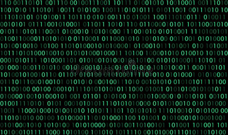 Πράσινος δυαδικός κώδικας μηδενικών αυτών στο μαύρο υπόβαθρο διανυσματική απεικόνιση