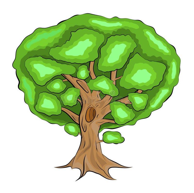 Πράσινος, ενιαίος με τη διανυσματική απεικόνιση δέντρων φύλλων στη χρωματισμένη έκδοση με τις σκιές, ύφος κινούμενων σχεδίων απεικόνιση αποθεμάτων