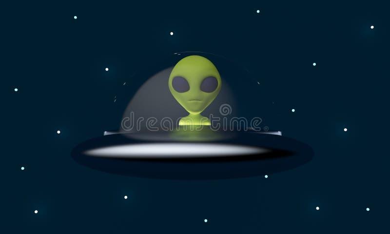 Πράσινος εξωγήινος σε διαστημόπλοιο απόδοση 3d διανυσματική απεικόνιση