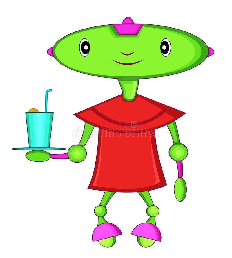 Πράσινος επικεφαλής σερβιτόρος ρομπότ διανυσματική απεικόνιση