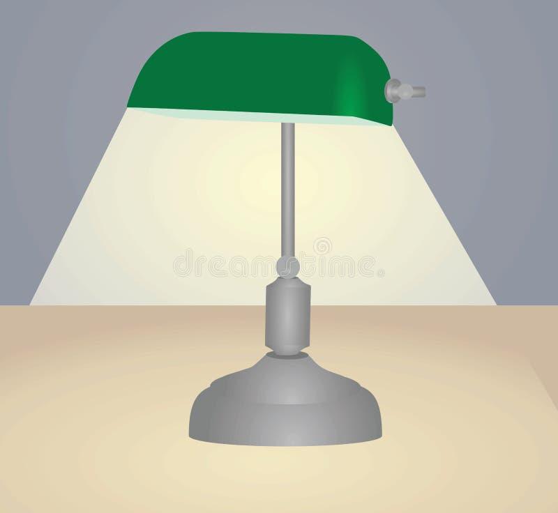 Πράσινος επιτραπέζιος λαμπτήρας με το φως διανυσματική απεικόνιση