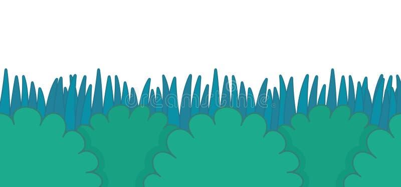 Πράσινος θάμνος με τα σύνορα χλόης ελεύθερη απεικόνιση δικαιώματος