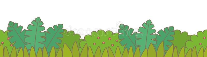 Πράσινος θάμνος με τα σύνορα χλόης διανυσματική απεικόνιση