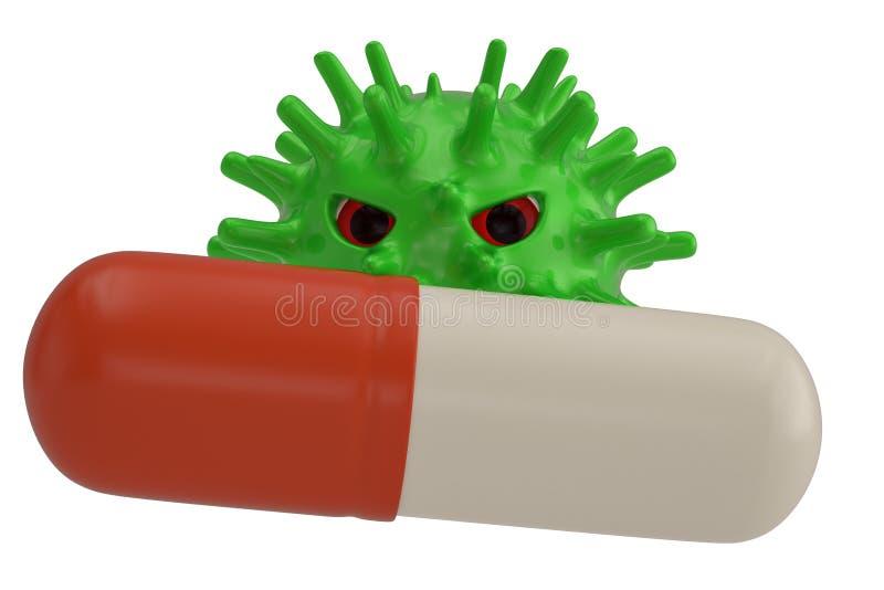 Πράσινος ιός και μεγάλη κάψα που απομονώνονται στο άσπρο υπόβαθρο r ελεύθερη απεικόνιση δικαιώματος