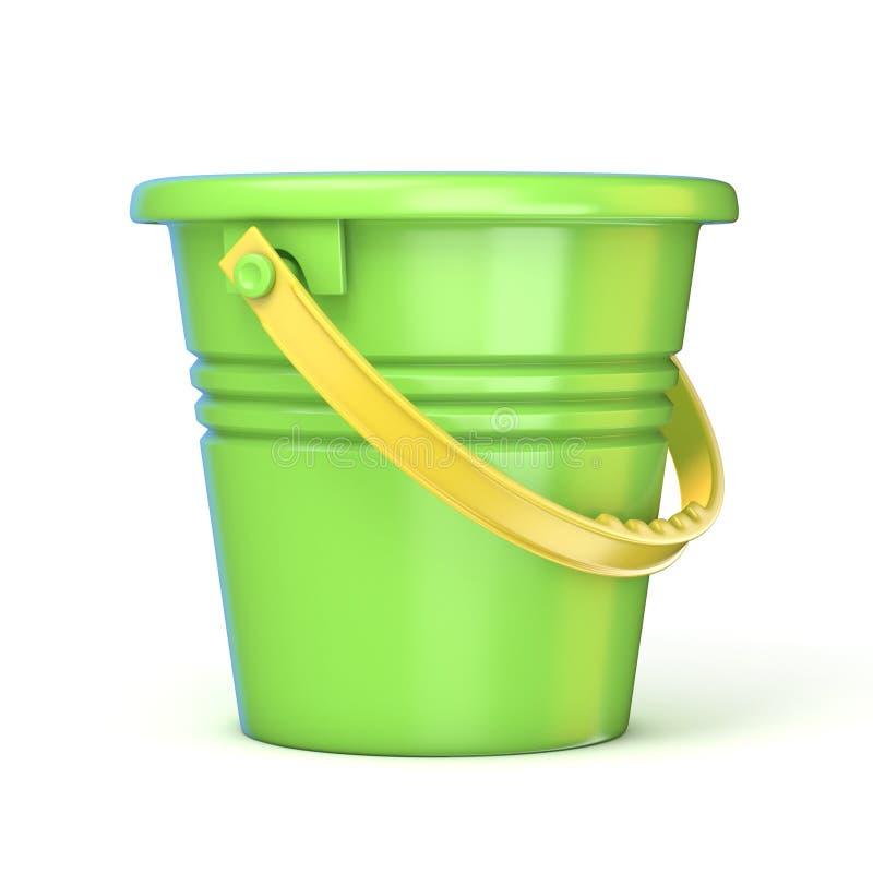 Πράσινος κίτρινος κάδος παιχνιδιών άμμου τρισδιάστατος απεικόνιση αποθεμάτων